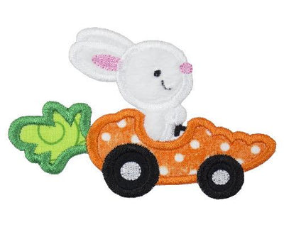 Easter Bunny in Carrot Race Car Patch