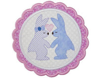 Easter Bunny Love Scallop Patch - Sew Lucky Embroidery