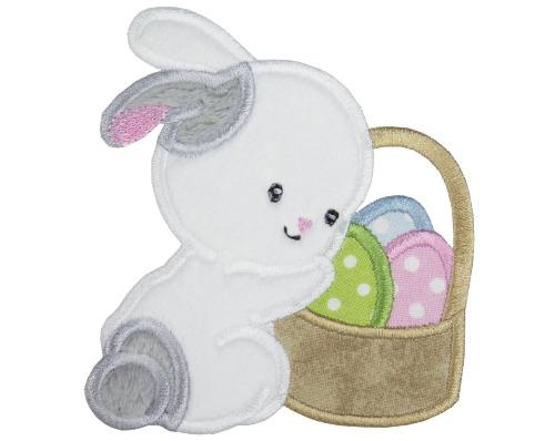 Easter Bunny with Basket of Eggs Patch - Sew Lucky Embroidery