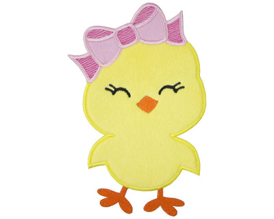 Easter Chick with Pink Bow Patch