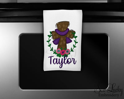 Easter Cross Personalized Waffle Weave Microfiber Kitchen Towel