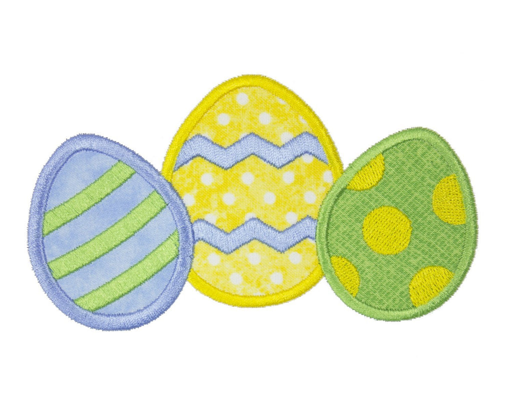 Easter Egg Trio Patch - Sew Lucky Embroidery
