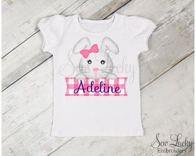 Easter Girl Bunny Personalized Banner Shirt