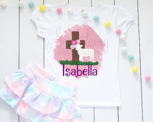 Easter Lamb Girls Easter Personalized Shirt - Sew Lucky Embroidery
