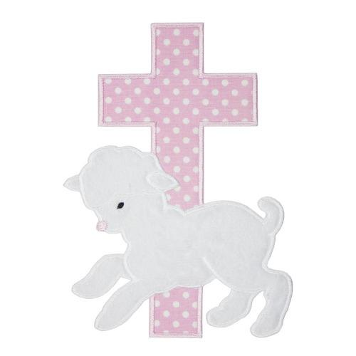 Easter Lamb with Pink Cross Patch - Sew Lucky Embroidery