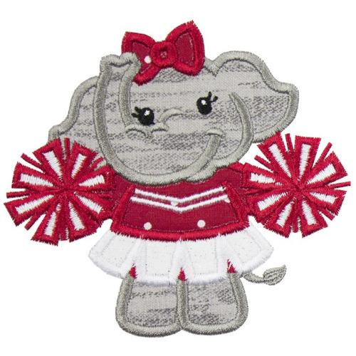 Elephant Cheerleader Football Patch - Sew Lucky Embroidery
