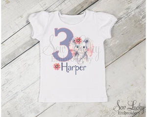 Elephant Girl Birthday Personalized Printed Shirt - Sew Lucky Embroidery