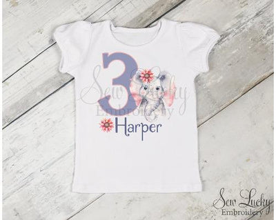 Elephant Girl Birthday Personalized Printed Shirt