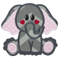 Elephant with Red Heart Cheeks Patch - Sew Lucky Embroidery