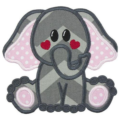 Elephant with Red Heart Cheeks Patch