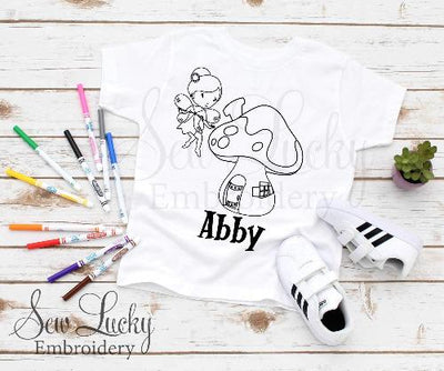 Fairy and Mushroom Girls Color Me Shirt