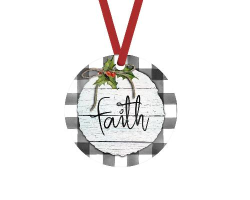 Faith Gray Buffalo Plaid Trim Christmas Ornament - Sew Lucky Embroidery