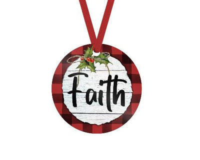Faith Red Buffalo Plaid Trim Christmas Ornament
