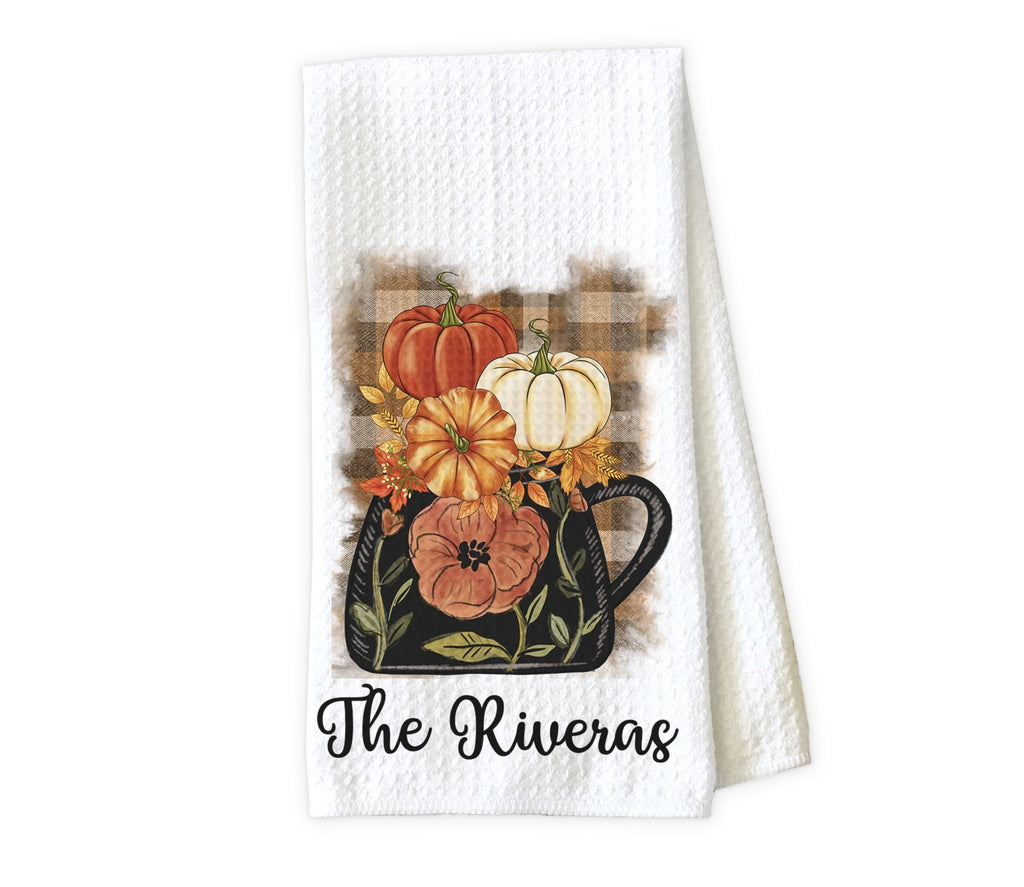 Fall Kettle Kitchen Personalized Towel - Waffle Weave Towel - Microfiber Towel - Kitchen Decor - House Warming Gift - Sew Lucky Embroidery