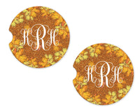 Fall Leaves and Glitter Personalized Sandstone Car Coasters - Sew Lucky Embroidery