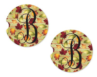 Fall Leaves and Glitter Stripes Personalized Sandstone Car Coasters - Sew Lucky Embroidery