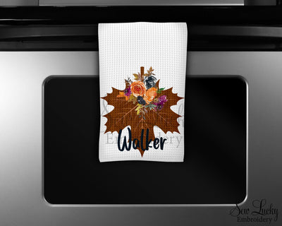 Fall Maple Leaf Personalized Waffle Weave Microfiber Kitchen Towel