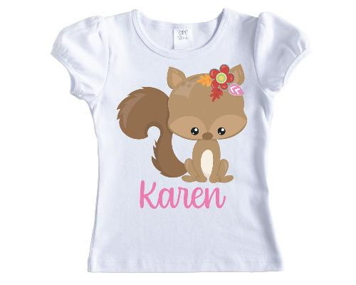 Fall Squirrel Girls Personalized Shirt - Sew Lucky Embroidery