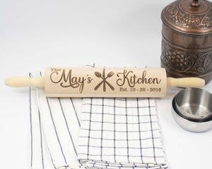 Family Name Engraved Rolling Pin - Sew Lucky Embroidery