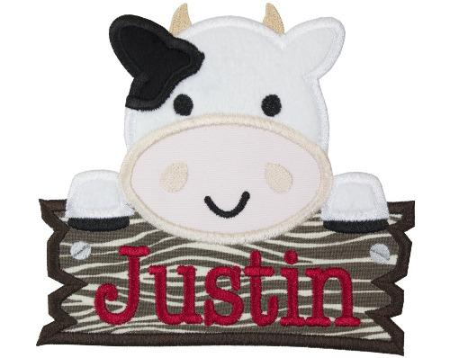 Farm Cow Peeker with Barn sign Personalized Patch - Sew Lucky Embroidery
