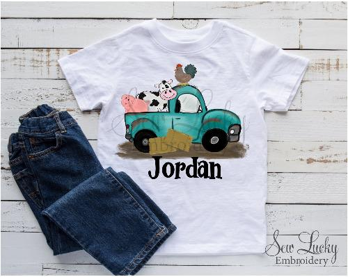 Farmer Truck Personalized Shirt - Sew Lucky Embroidery