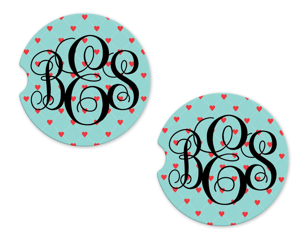 Floating Hearts Personalized Sandstone Car Coasters - Sew Lucky Embroidery