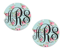 Floral Baby Blue Sandstone Car Coasters - Sew Lucky Embroidery