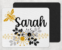 Floral Bee Personalized Custom Mouse Pad - Sew Lucky Embroidery