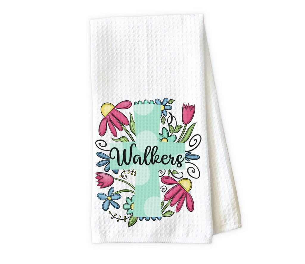 Floral Cross Personalized Kitchen Towel Personalized Kitchen Towel - Waffle Weave Towel - Microfiber Towel - Kitchen Decor - House Warming Gift - Sew Lucky Embroidery
