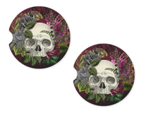 Floral Skulls Sandstone Car Coasters - Sew Lucky Embroidery
