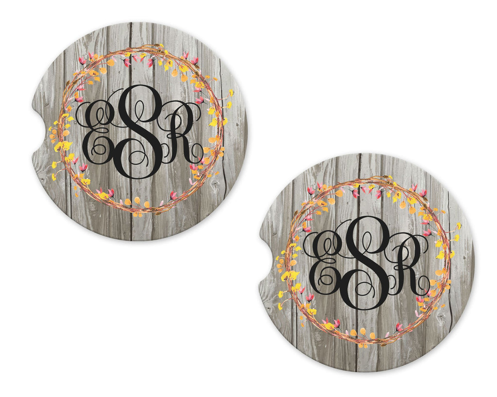 Floral Wreath on Wood Personalized Sandstone Car Coasters - Sew Lucky Embroidery