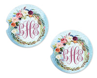 Floral Wreath Personalized Sandstone Car Coasters - Sew Lucky Embroidery