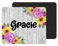 Flowers on Wood Background Custom Personalized Mouse Pad - Sew Lucky Embroidery
