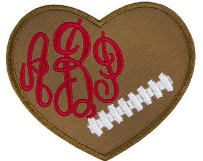 Football Heart Monogram Personalized Patch