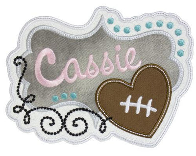 Football Heart Personalized Patch