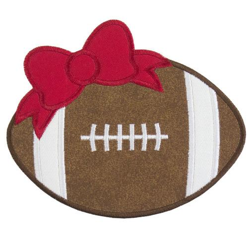 Football with Red Bow Patch - Sew Lucky Embroidery