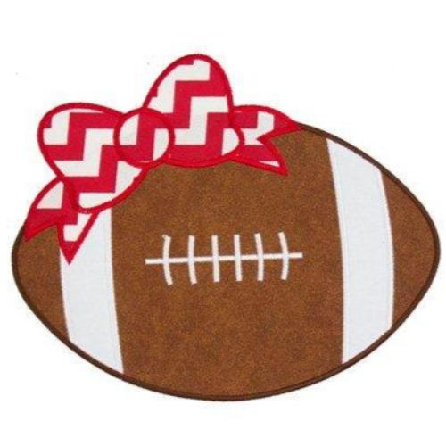 Football with Red Chevron Bow Patch - Sew Lucky Embroidery