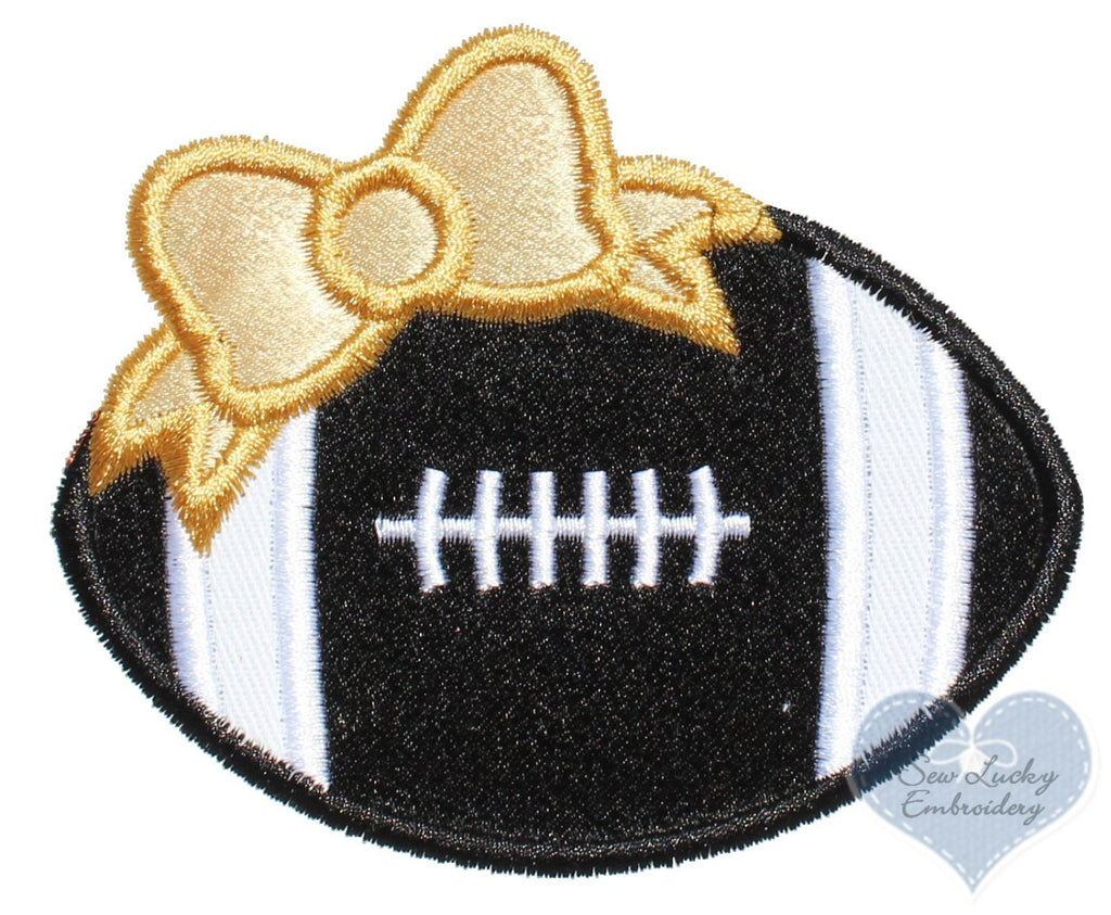 Football with Gold Bow Patch