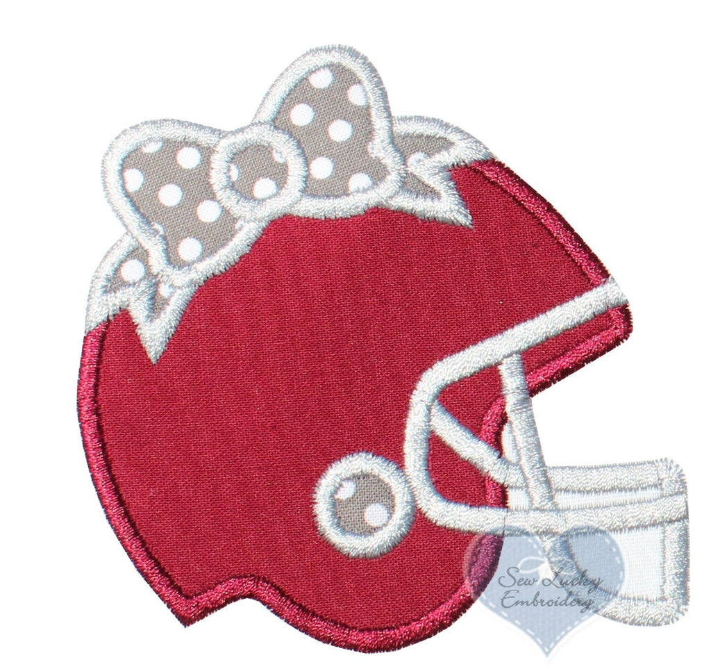 Football Helmet with Gray Polka Dotted Bow Patch