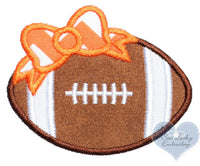 Football with Orange Chevron Bow Patch