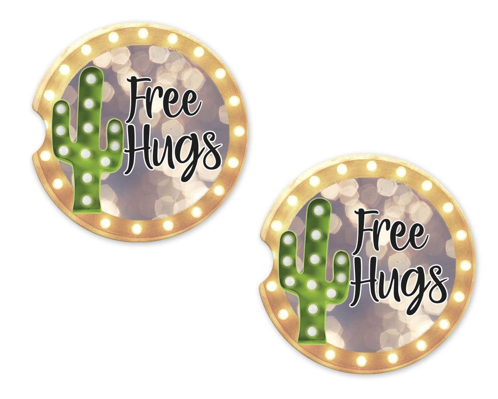 Free Hugs Cactus Marquee Sandstone Car Coasters - Sew Lucky Embroidery