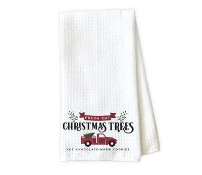 Fresh Cut Christmas Trees Waffle Weave Microfiber Kitchen Towel
