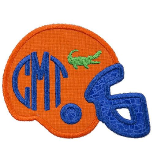 Gator Football Helmet Monogram Patch - Sew Lucky Embroidery