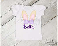 Girl Bunny Ears Personalized Easter Shirt - Sew Lucky Embroidery