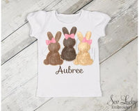 Girl Bunny Trio Personalized Shirt - Sew Lucky Embroidery