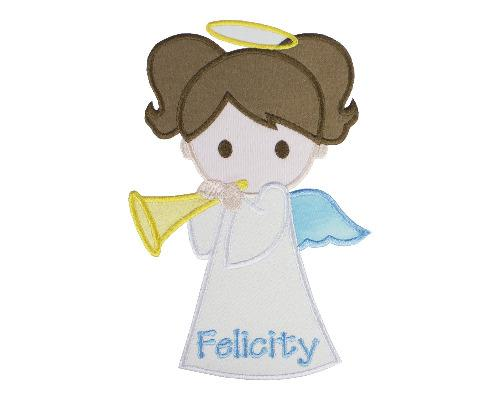Girl Christmas Angel Personalized Patch - Sew Lucky Embroidery