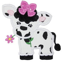 Girl Cow with Pink Bow Patch - Sew Lucky Embroidery
