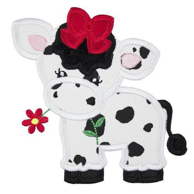 Girl Cow with Red Bow Patch