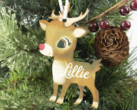 Girl Reindeer Christmas Ornament Personalized - Sew Lucky Embroidery