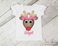 Girl Reindeer Personalized Shirt - Sew Lucky Embroidery